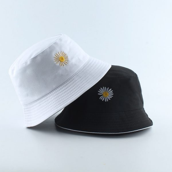 64070 vn4egh 600x600 - Summer Daisies Embroidery Bucket Hat Women Cotton Fashion Sun Cap Girls Reversible daisy Bob Sun Femme Floral Panama Hat