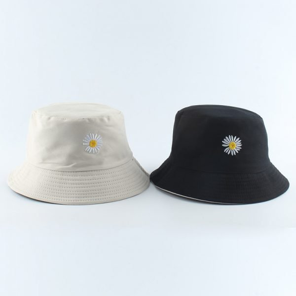 64070 wmvjz6 600x600 - Summer Daisies Embroidery Bucket Hat Women Cotton Fashion Sun Cap Girls Reversible daisy Bob Sun Femme Floral Panama Hat
