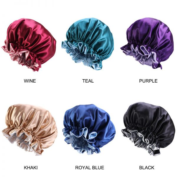 64072 2yefy3 600x600 - New Solid Women Satin Bonnet Fashion Stain Silky Big Bonnet for Lady Sleep Cap Headwrap Hat Hair Wrap Accessories Wholesale