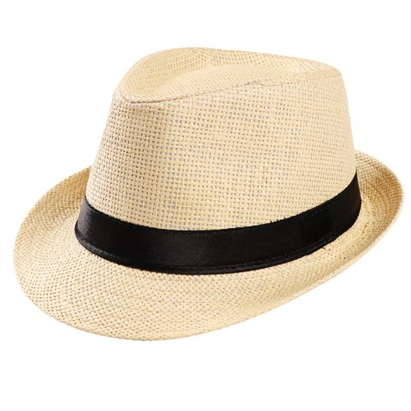 64108 ee1o6m 600x600 - 2019 Hot Sale Round Top Wide Brim Straw Hats Summer Sun Hats for Women Unisex Trilby Gangster Cap Beach Straw Hat Band Sunhat