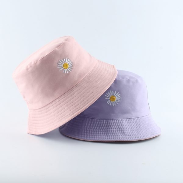 64150 iwbvt4 600x600 - 2020 Spring Women Fishing Bucket Hats Summer Sunscreen Sun Cap Flower Daisies Embroidery Reversible Fisherman Hat