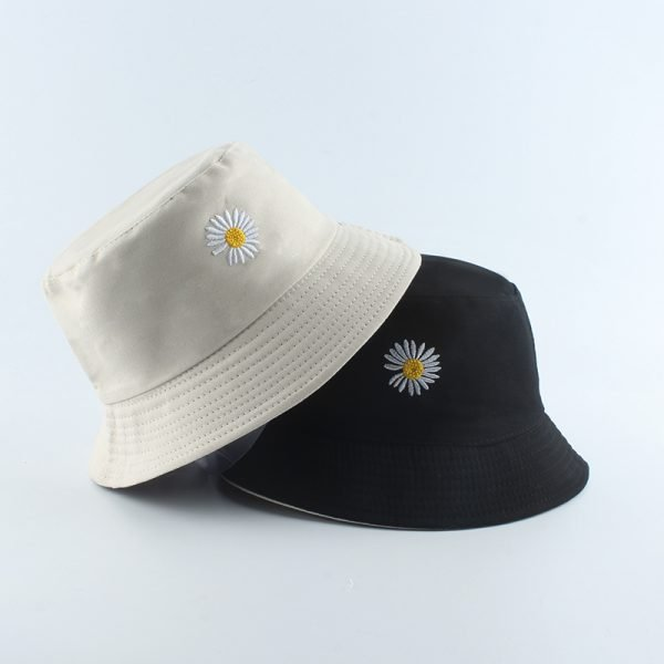64150 sijctc 600x600 - 2020 Spring Women Fishing Bucket Hats Summer Sunscreen Sun Cap Flower Daisies Embroidery Reversible Fisherman Hat