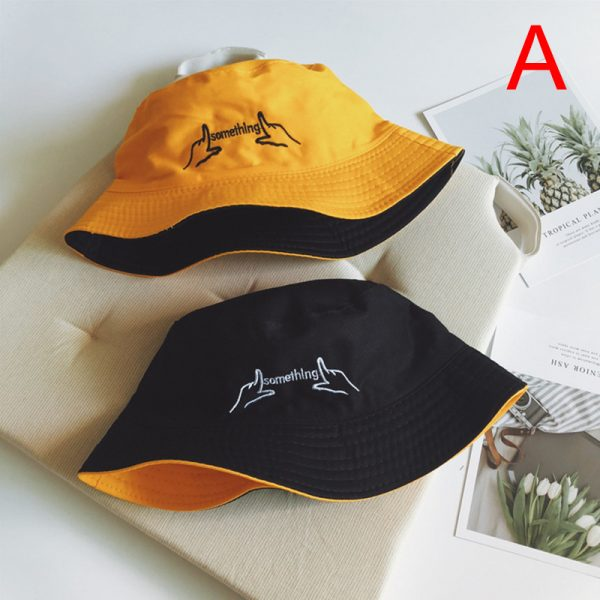 64163 r6edpx 600x600 - Double Sided Wear Finger Something Embroidery Panama Bucket Hat Men Women Summer Bucket Cap Hip Hop Hat Fisherman Hat