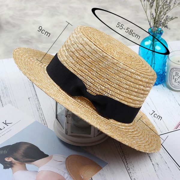 64185 5wut39 600x600 - New Summer Women's Boater Beach Hat Wide side Female Casual Panama Hat Lady Classic Flat Bowknot Straw Sun Hat Women Fedora