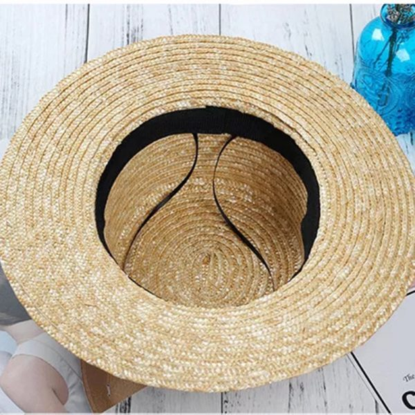 64185 7ti4vr 600x600 - New Summer Women's Boater Beach Hat Wide side Female Casual Panama Hat Lady Classic Flat Bowknot Straw Sun Hat Women Fedora