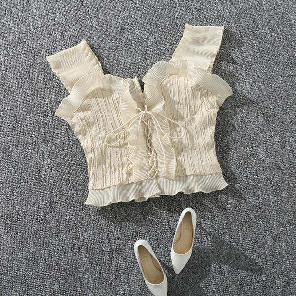 65029 ihd9of 600x600 - Shintimes 2020 New Summer Autumn Bustier White Black Tank Top Female Sexy Bandage Sleeveless Crop Top Zipper Woman Clothes