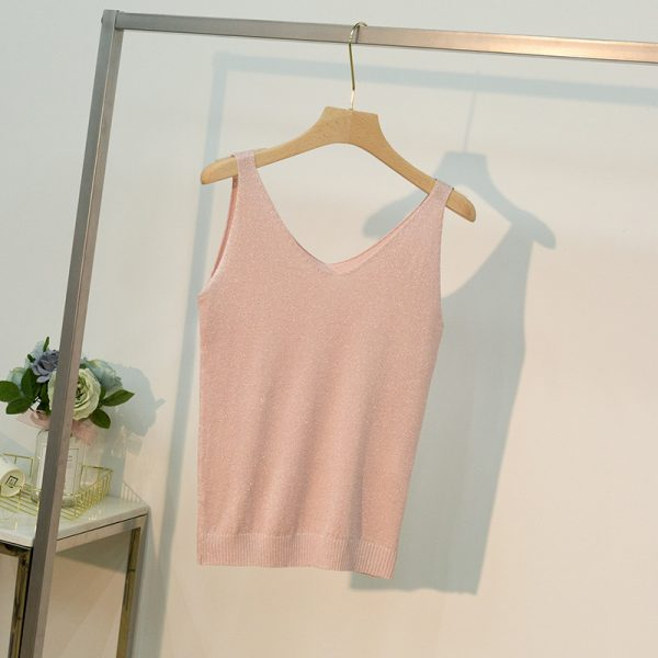 65045 lnhy04 600x600 - 18 Colors Women Sleeveless Tank Tops Sexy Female V-Neck Knitted Camisole Club Girls Metal Strap Camis Thin Shiny Glitter Bling