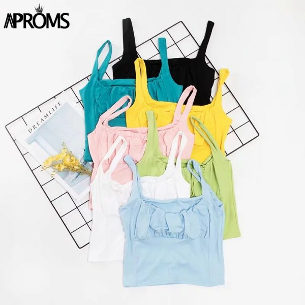 65140 05t1co 600x600 - Aproms Candy Color Camis Streetwear Tube Women Summer Ruched Pleated Short Tank Tops 90s Cool Girls Sexy Slim Crop Top Tees