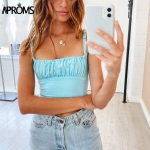 65140 dp37rx 300x300 - Aproms Candy Color Camis Streetwear Tube Women Summer Ruched Pleated Short Tank Tops 90s Cool Girls Sexy Slim Crop Top Tees