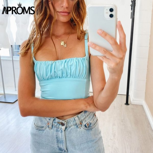 65140 dp37rx 600x600 - Aproms Candy Color Camis Streetwear Tube Women Summer Ruched Pleated Short Tank Tops 90s Cool Girls Sexy Slim Crop Top Tees