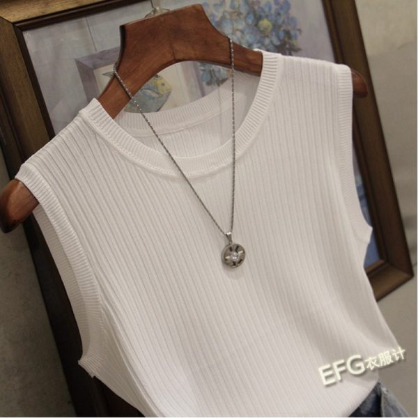 65236 gixstk 600x600 - Knitted Vests Women Top O-neck Solid Tank Fashion Female Sleeveless Casual Thin Tops 2020 Summer Knit Woman Shirt Gilet Femme