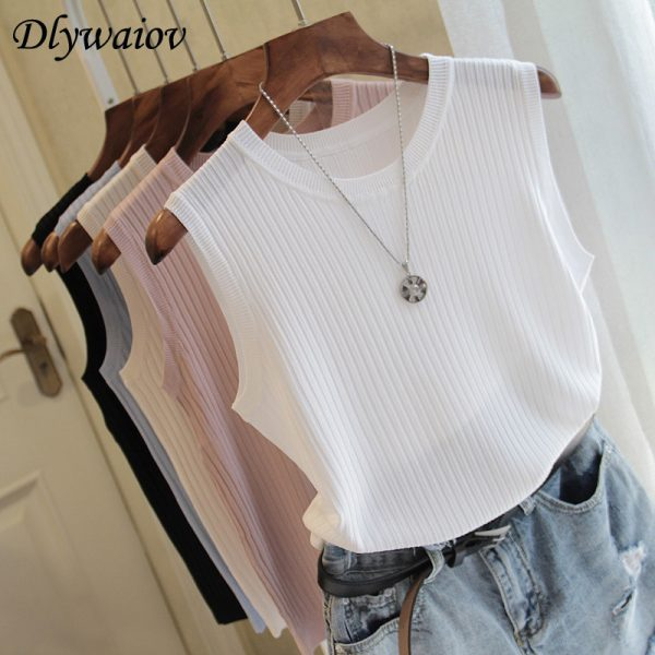 65236 ob8ljp 600x600 - Knitted Vests Women Top O-neck Solid Tank Fashion Female Sleeveless Casual Thin Tops 2020 Summer Knit Woman Shirt Gilet Femme