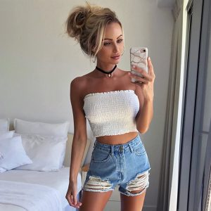 65384 by22at 300x300 - Summer New Fashion Ladies Sleeveless Strapless Tube Bandeau Woman's Sexy Off Shoulder Ruched Tube Tops Summer Crop Top ASVE20240