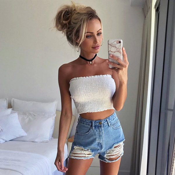 65384 by22at 600x600 - Summer New Fashion Ladies Sleeveless Strapless Tube Bandeau Woman's Sexy Off Shoulder Ruched Tube Tops Summer Crop Top ASVE20240