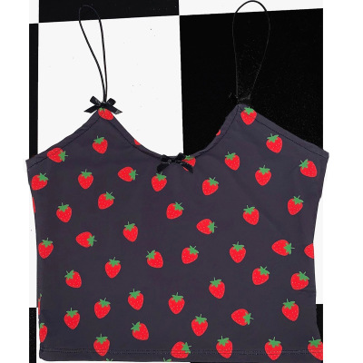 65404 ufpw8e - ALLNeon Kawaii Pink Cropped Camis Tops Spaghetti Strap Strawberry Print Summer Crop Tops for Women Vintage Sweet Ladies Tanks