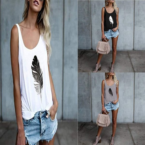 65573 idgqzr 600x600 - Women Loose Tank Tops Summer Fashion Sleeveless Feather Printed Camis Tops Casual Vest Top Plus Size 3XL WDC2450