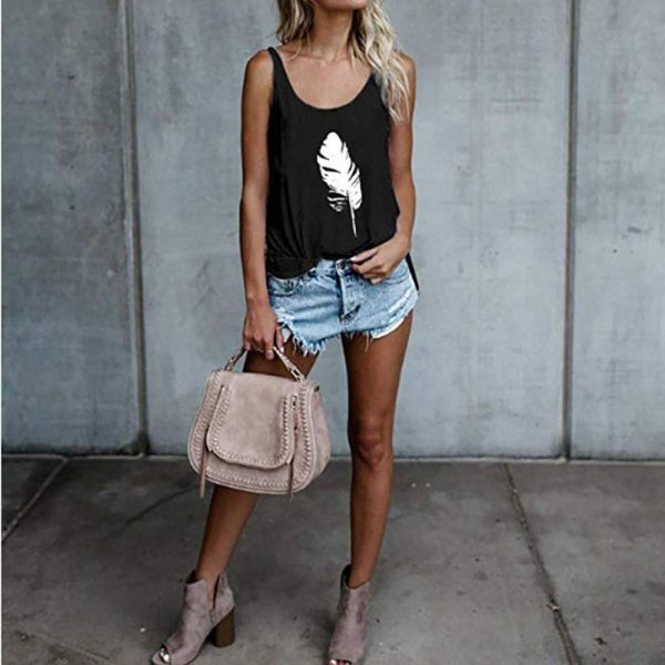 65573 khsg7x 600x600 - Women Loose Tank Tops Summer Fashion Sleeveless Feather Printed Camis Tops Casual Vest Top Plus Size 3XL WDC2450