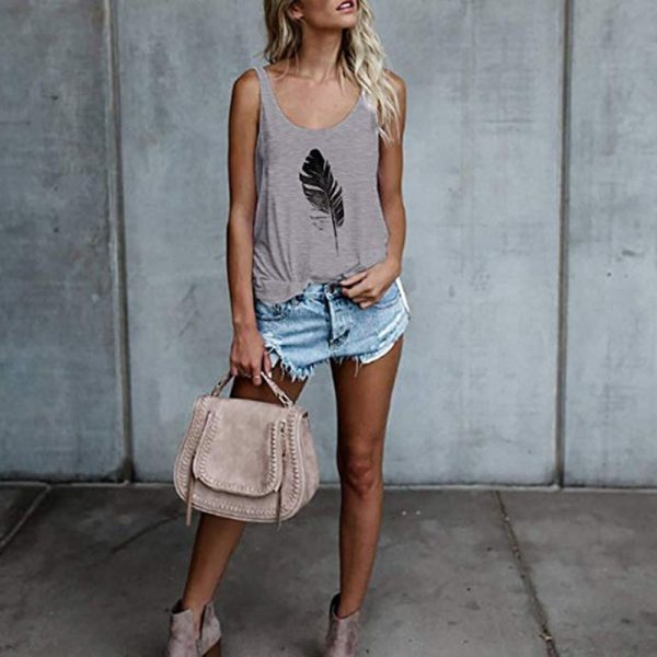 65573 sj5efx 600x600 - Women Loose Tank Tops Summer Fashion Sleeveless Feather Printed Camis Tops Casual Vest Top Plus Size 3XL WDC2450