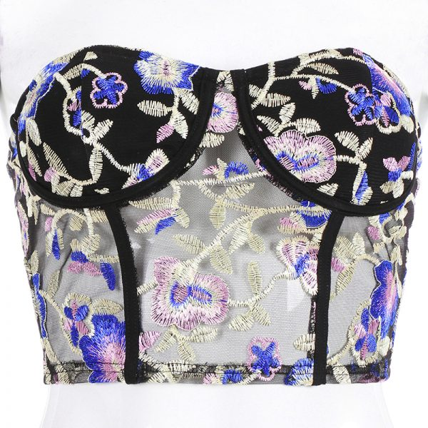 65609 9jmqmy 600x600 - Darlingaga Fashion Chic floral embroidery tube top strapless bandeau summer top women adjustable corset crop tops 2020 new short