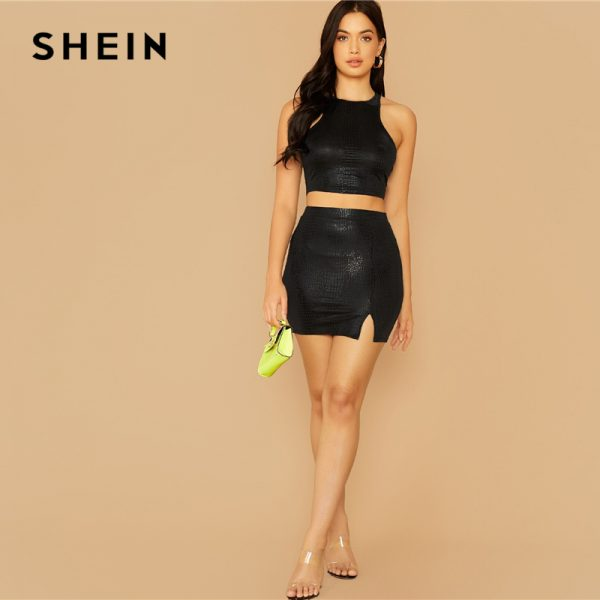 65775 vx6xd5 600x600 - SHEIN Snake Embossed Crop Tank Top Women Glamorous Fashion Solid Summer Autumn Female New Slim Fitted Top Vests