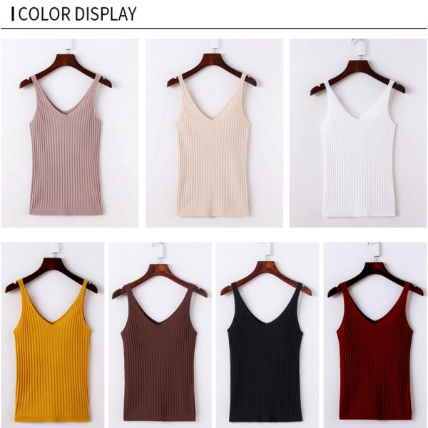 65805 b0pzss 600x600 - GOPLUS Summer Knitted Top Women Sexy V-neck Shoulderless Sleeveless Tank Tops Femme Woman Clothes Ropa Mujer