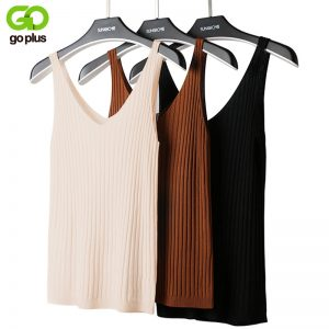 65805 mgyxot 300x300 - GOPLUS Summer Knitted Top Women Sexy V-neck Shoulderless Sleeveless Tank Tops Femme Woman Clothes Ropa Mujer