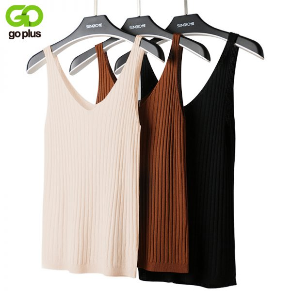 65805 mgyxot 600x600 - GOPLUS Summer Knitted Top Women Sexy V-neck Shoulderless Sleeveless Tank Tops Femme Woman Clothes Ropa Mujer