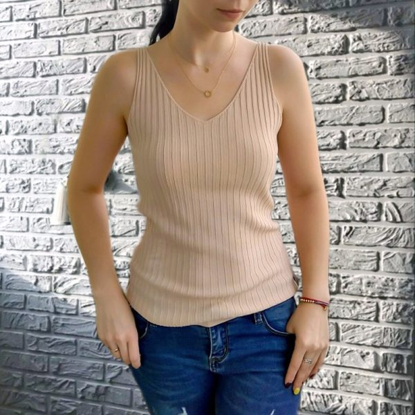 65805 q5ybzk 600x600 - GOPLUS Summer Knitted Top Women Sexy V-neck Shoulderless Sleeveless Tank Tops Femme Woman Clothes Ropa Mujer