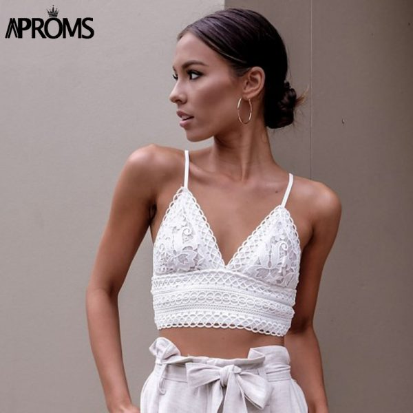 65865 a0kif9 600x600 - Aproms White Lace Crochet Camisole Cami Women Summer Backless Bow Tie Up Tank Tops Female Streetwear Fashion 2020 Pink Crop Top