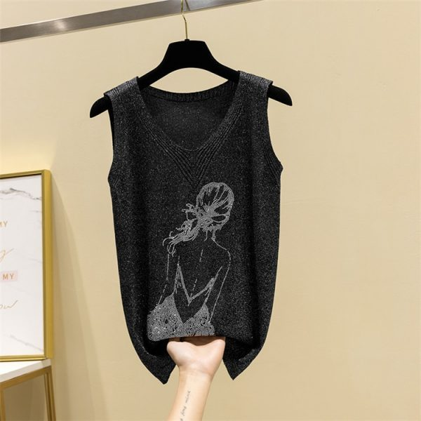65930 hs1vnx 600x600 - Plus size Summer Bright  Soft Knitted Vest Women Casual Loose Tank Top 2020 Girl Back Rhinestones Sleeveless T-shirt Femme B-014