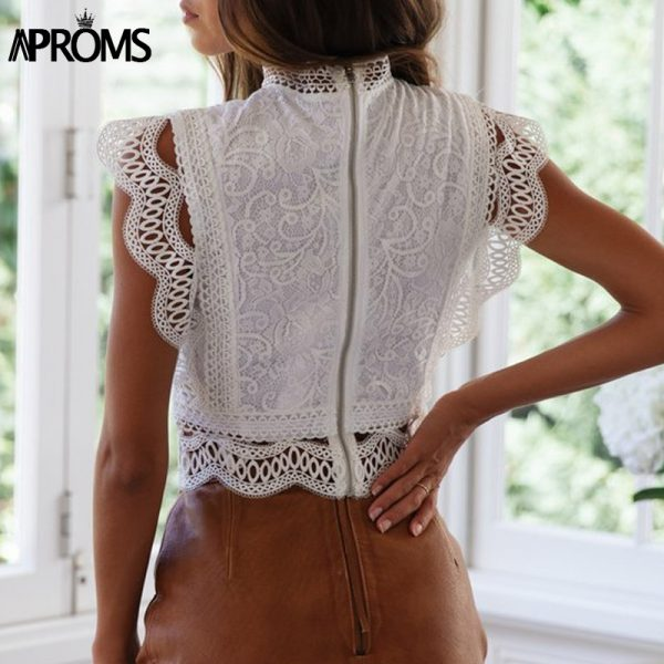 66002 drlfkb 600x600 - Aproms White Lace Crochet Tank Tops Women Summer Sexy High Neck Hollow out Zipper Crop Top Slim Fit Tees 2020