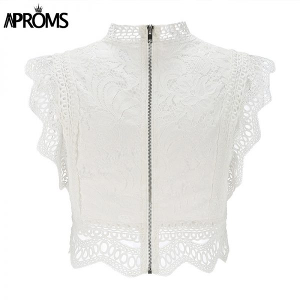 66002 fr51ju 600x600 - Aproms White Lace Crochet Tank Tops Women Summer Sexy High Neck Hollow out Zipper Crop Top Slim Fit Tees 2020