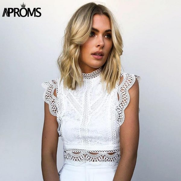 66002 l2gnqb 600x600 - Aproms White Lace Crochet Tank Tops Women Summer Sexy High Neck Hollow out Zipper Crop Top Slim Fit Tees 2020