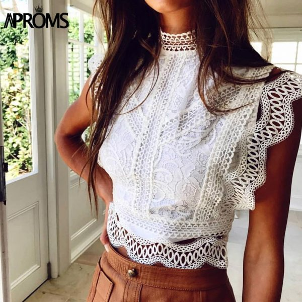 66002 x9ahvy 600x600 - Aproms White Lace Crochet Tank Tops Women Summer Sexy High Neck Hollow out Zipper Crop Top Slim Fit Tees 2020