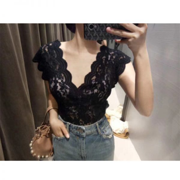 66037 pc1sus 600x600 - Women Summer New V-neck Temperament Sexy Slim Lace Openwork Tank Tops A311