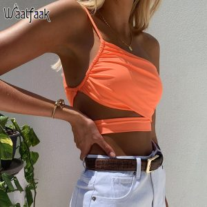 66056 llrygt 300x300 - Waatfaak Neon Orange Hollow Out Sexy Crop Top Women Cut out Off Shoulder Crop Tops Summer 2020 Casual Sexy Tops Woman Harajuku