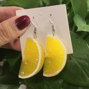 66636 7dqmy0 300x300 - Resin stereo lemon orange earrings long pendant fashion summer fruit jewelry for girls and teenagers gifts wholesale