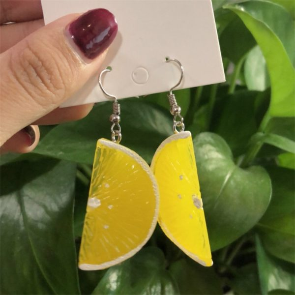 66636 oati4y 600x600 - Resin stereo lemon orange earrings long pendant fashion summer fruit jewelry for girls and teenagers gifts wholesale