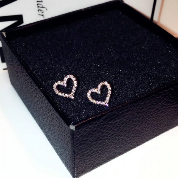 66710 krtxqd 600x600 - Korean Earrings S925 Sterling Silver Color Heart Bling Zircon Stone Stud Earrings for Women Fashion Jewelry 2019 New