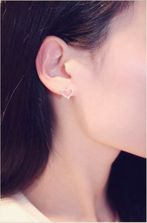 66710 sanuup 600x908 - Korean Earrings S925 Sterling Silver Color Heart Bling Zircon Stone Stud Earrings for Women Fashion Jewelry 2019 New