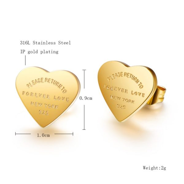 66817 j3z0du 600x600 - Martick Gold- color Heart Earrings For Women Rose Gold-color Heart Stud Earrings With English Letters Fine Jewelry Gift E161