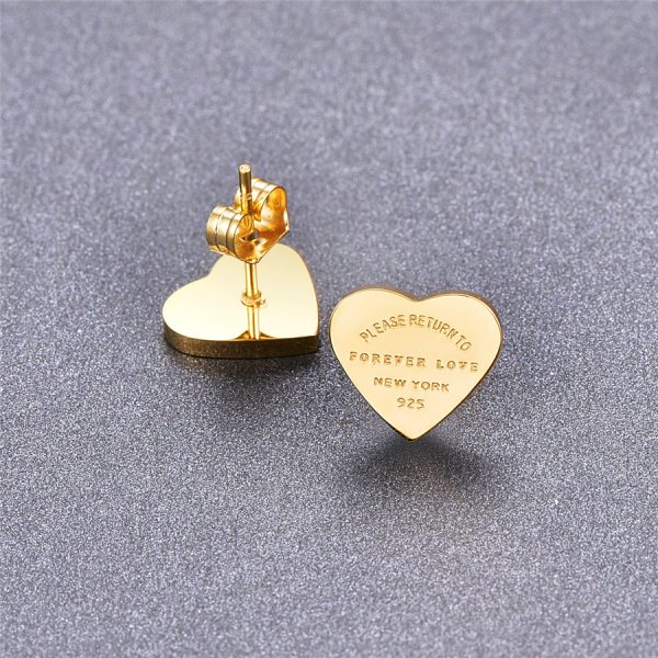 66817 sqj9ia 600x600 - Martick Gold- color Heart Earrings For Women Rose Gold-color Heart Stud Earrings With English Letters Fine Jewelry Gift E161