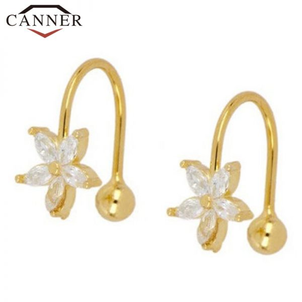 66847 h6qoh5 600x600 - 1 pair of 925 Sterling Silver Snowflake Ear Cuff Without Piercing Clip Earrings for Women Crystal Zircon Clip on Earrings