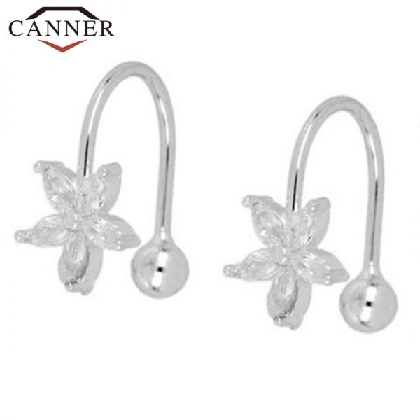 66847 n2icet 600x600 - 1 pair of 925 Sterling Silver Snowflake Ear Cuff Without Piercing Clip Earrings for Women Crystal Zircon Clip on Earrings