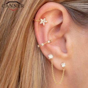 66847 pohxo0 300x300 - 1 pair of 925 Sterling Silver Snowflake Ear Cuff Without Piercing Clip Earrings for Women Crystal Zircon Clip on Earrings