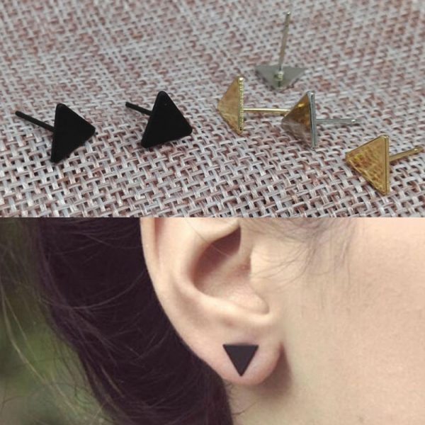 66887 4ue2uh 600x600 - 2020 New Fashion Gothic Triangle Earrings Unisex Punk Rock  Men Women Ear Stud Earrings Pierced Push-Back Ear Plug Jewelry