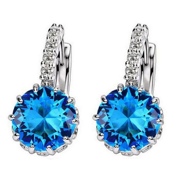 67018 cpg7nn 600x600 - 1pcs Sell Blue Luxury Ear Drop Dangle Earrings For Women Round With Cubic Zircon Flower Earrings Women Jewelry