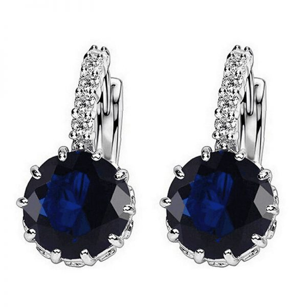 67018 hj992j 600x600 - 1pcs Sell Blue Luxury Ear Drop Dangle Earrings For Women Round With Cubic Zircon Flower Earrings Women Jewelry