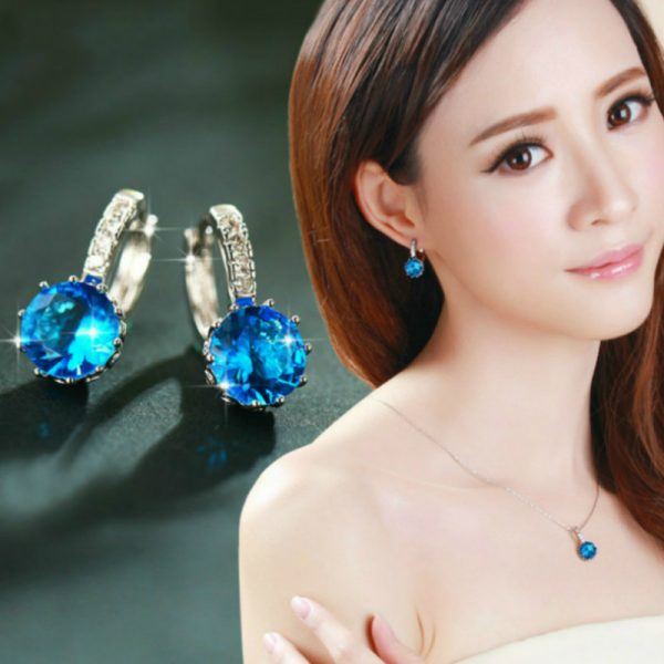 67018 pas5mu 600x600 - 1pcs Sell Blue Luxury Ear Drop Dangle Earrings For Women Round With Cubic Zircon Flower Earrings Women Jewelry