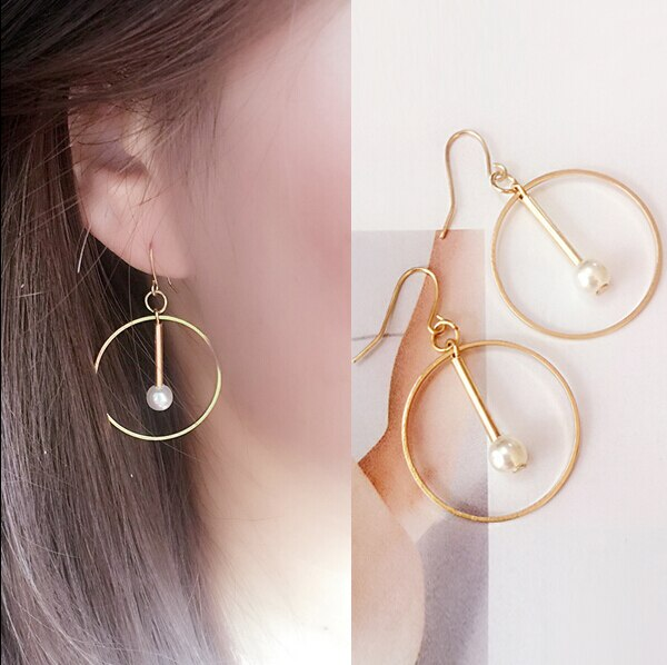 67286 qbs8eg - New Earings Fashion Jewelry  Round Circle Imitate Pearl Jewelry Geometric Hollow Drop Earrings For Women